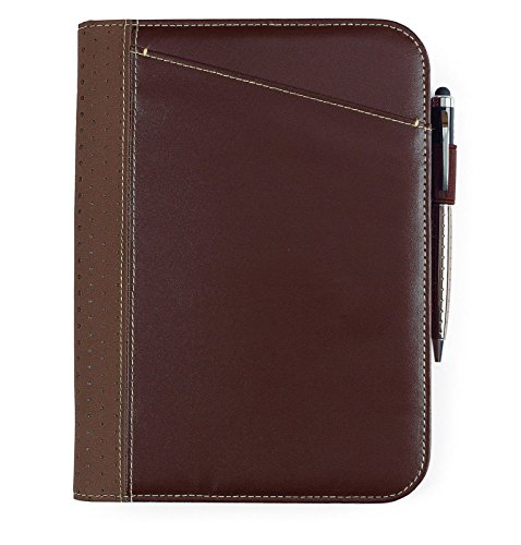 Gemline Cedar Simulated Brown Leather Jr. Padfolio On-trend, modern Style Simulated Leather Zippered