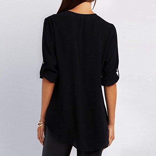 Printemps Sexy Shirt Chemises Lâches Été Manches Taille Haut Tops Femmes Noir Cou Casual Blouse Mode Hei Loisir Chic à Ba Grande Et V T Occasionnel Lâche Zha HnHIvRqw