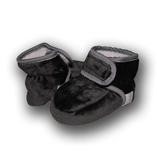 Baby Conda Cozy Stretchy Fleece Charcoal Baby Booties, Infant Slippers 6 - 18 Months