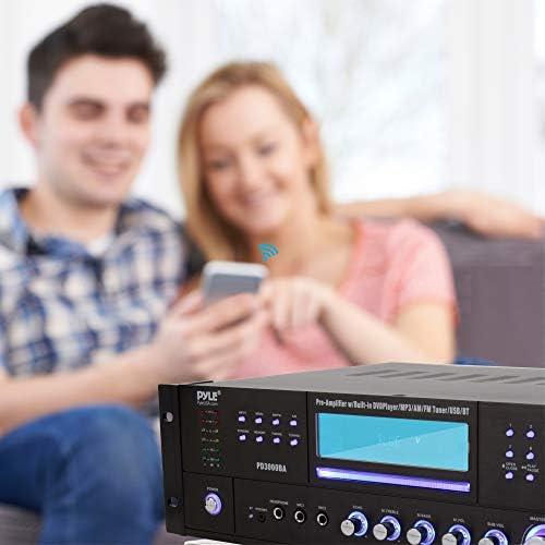 4 Channel Wireless Bluetooth Amplifier – 3000 Watt Stereo Speaker Home Audio Receiver w/ FM Radio, USB, 2 Microphone w/ Echo for Karaoke, Front Loading CD DVD Player, LED, Rack Mount – Pyle PD3000BA 41MCUIoe5YL