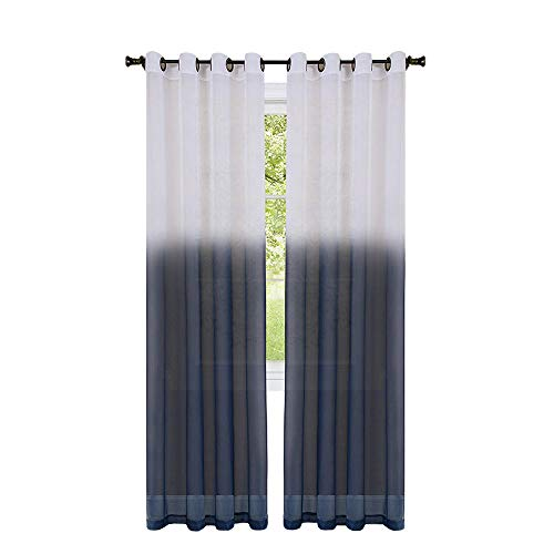 GoodGram 2 Pack Semi Sheer Ombre Chic Grommet Curtain Panels - Assorted Colors (Blue)
