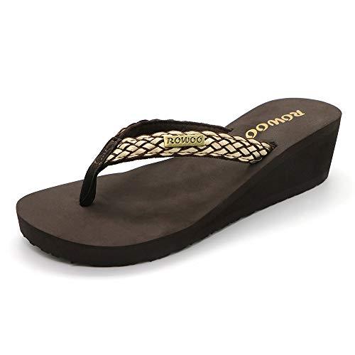 ONEHOO Women Platform Wedge No-Slip Thong Flip Flops High Heels Beach Dressy Sandals (US8/EU39, Brown)