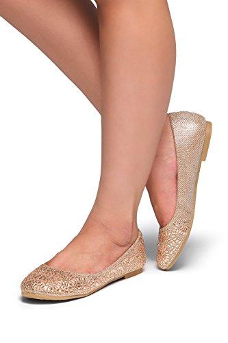 Herstyle Vrouwen Vicky Ronde Neus Juwelen Versieringen Strass Ballet Flats Schoenen Rose Goud