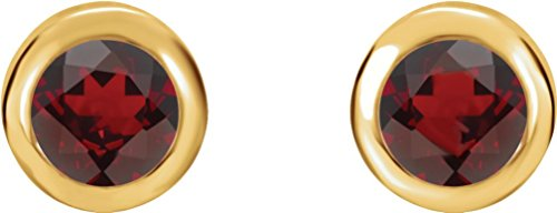 Mozambique Garnet Stud Earrings, 14k Yellow Gold by The Men's Jewelry Store (Unisex Jewelry)