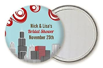 chicago skyline personalized bridal shower pocket mirror favors