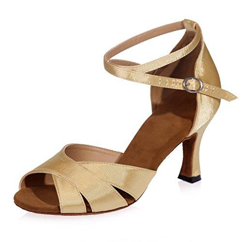 L@YC Zapatillas De Baile Latino Moderno De Las Mujeres Sandalias De Cuero Se abrochan Grueso Con Personalizable Gold