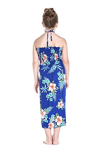 Matching Hawaiian Luau Mother Daughter Halter Dress in Hibiscus Blue