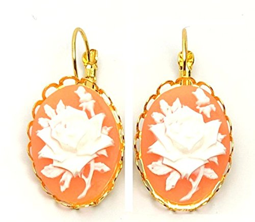 Trendy Fashion Oval Lace Cabochon Cameo Rose Earrings for Women/AZAERC001 (Gold,Peach,White)