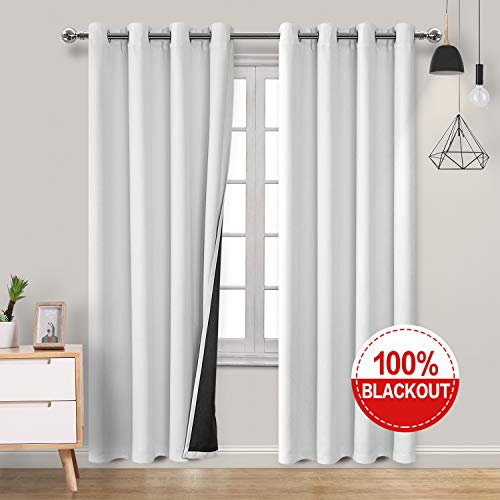 Homedocr Double Layer 100% White Blackout Curtains 84 Inches Long Full Light Blocking Thermal Insulated and Sounproof Grommet Window Curtains for Bedroom and Living Room, 2 Drape Panels