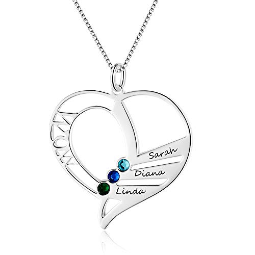 Personalized Mothers Name Heart Necklace with 3 Simulated Birthstones Engraved 3 Names Mother Children Name Necklace for Wife Mother's Day Pendant for Mom
