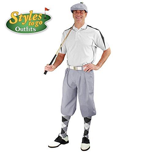 メンズゴルフOutfit – トープ、ホワイト、&ブラックゴルフKnicker Complete Outfit