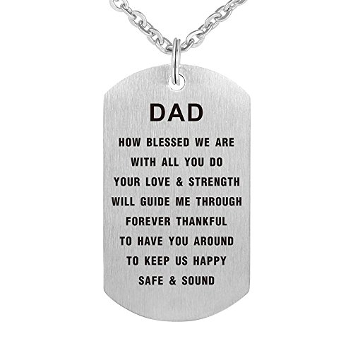 Kisseason Fathers Day Birthday Gift Jewelry Pendant Necklace Dog Tag Keychain for Father Dad ()