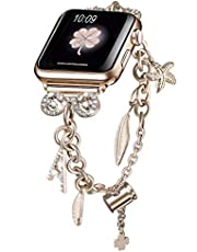 Secbolt Bling Bands Compatible with Apple Watch Bands 38mm 40mm 42mm 44mm iWatch SE Series 6/5/4/3/2/1, Women's Interchangeable Charms Adjustable Bracelet