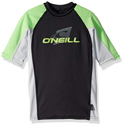 (O'Neill Wetsuits Youth Premium Skins Upf 50+ Short Sleeve Rash Guard,Black/Grey/Dayglo,10)
