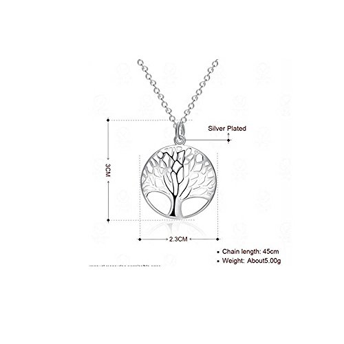925 Sterling Silver Beautiful Vintage Style Tree of life Pendant on Alloy Necklace Chain