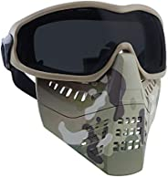 H World Shopping Airsoft Tactical Paintball Face Mask with Goggles MC (BK)