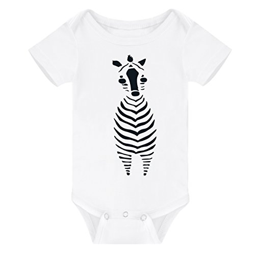 (WINZIK Newborn Infant Baby Boys Girls Outfits Cute Elephant Zebra Pattern Print Onesie Romper Jumpsuit Clothes T-Shirt (3-6 Months, White Z))
