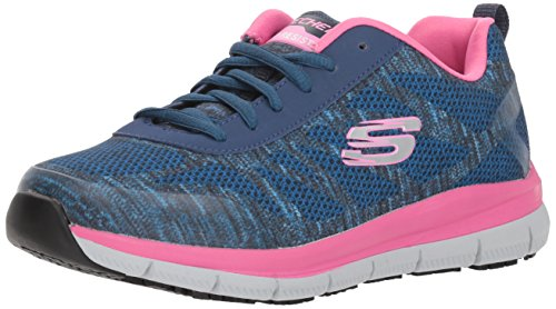 Skechers Work Women's Comfort Fkex HC Pro SR Health Care Professional Shoe, Navy/Pink, 8.5 W
