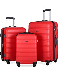 Mellowdy 3 Piece Set Spinner Luggage Expandable Travel Suitcase 20 24 28 inch (Red)
