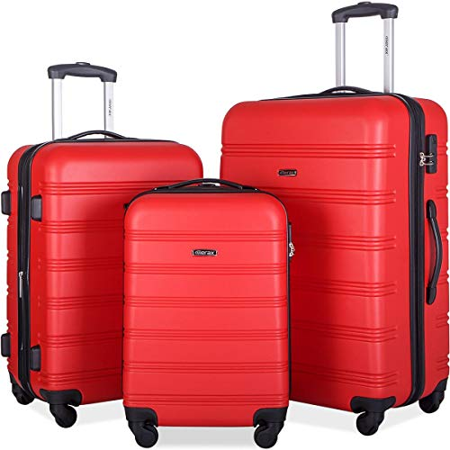 (Merax 3 Pcs Luggage Set Expandable Hardside Lightweight Spinner Suitcase (Red))