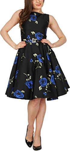 BlackButterfly 'Audrey' Vestido Vintage Años 50 Infinity Grandes Rosas Azules