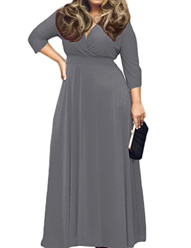 [POSESHE Women's Solid V-Neck 3/4 Sleeve Plus Size Evening Party Maxi Dress (XL, Grey)] (Rayon Womens Party Dress)