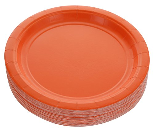 Amcrate Orange Disposable Party Paper Dessert Plates 7