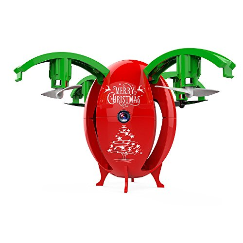 Gbell Kids Transformable Egg Pocket Drone - 2.4G FoldableLED Light Headless Mode RC Quadcopter UAV,Birthday Christmas New Year Gifts for Kids Adults,Red Green (Red) by Gbell