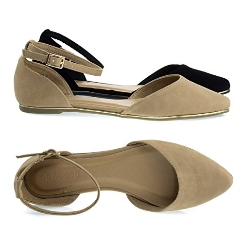 Gold Trimmed Outsole Flat w Double Open Shank DOrsay & Ankle Strap Natural Nubuck ZJdoIFrhRx