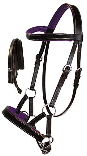 CHALLENGER Western Horse Leather BITLESS SIDEPULL Bridle REIN Full Brown Purple 7710PR-F