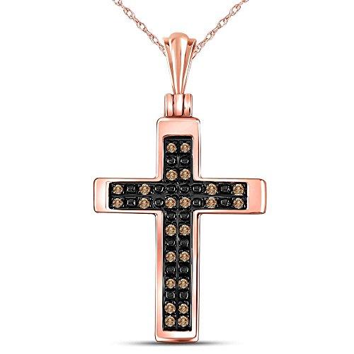 Brandy Diamond Chocolate Brown 10K Rose Gold Glorious Cross Faith Pendant 1/8 Ctw.