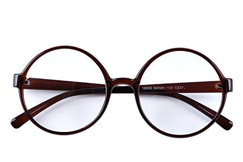 Agstum Retro Round Glasses Frame Clear Lens Fashion Circle Eyeglasses 52mm (Brown, 52mm) ()
