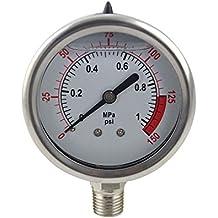 Pressure gauge amazon yzm stainless steel 304 single scale liquid filled pressure gauge with brass internals 2 altavistaventures Image collections