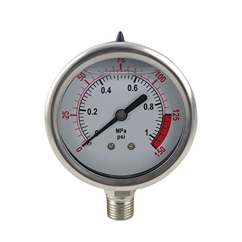 "YZM Stainless Steel 304 Single Scale Liquid Filled Pressure Gauge with Brass Internals, 2-1/2"" Dial Display, -1.5% Accuracy, 1/4"" NPT Bottom Mount,Water Pressure Gauge. (0-150 psi)"
