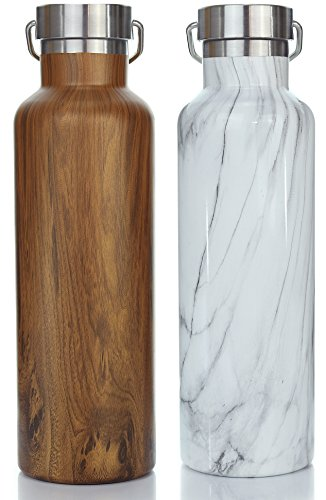Stainless Steel Water Bottle - Insulated Wide Mouth Thermos Water Bottle Lets You Easily Add Ice or Fruit - New Double Walled Vacuum Bottles Designed to be Leak Proof To Keep Drinks Ice Cold