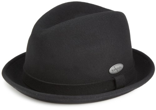 Kangol Wool Player - Kangol Men's LiteFelt Player, A Stylish Upturned Brim Fedora, Black (Medium)
