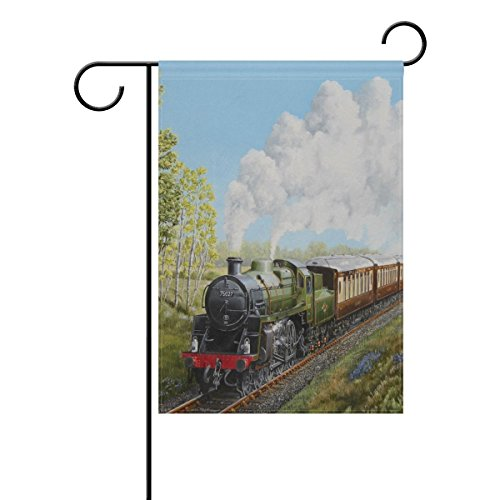 (BGOJM Double Sided Family Flag Special Steam Train Railway LandscapePolyester Outdoor Flag Home Party Decor Garden Flag )