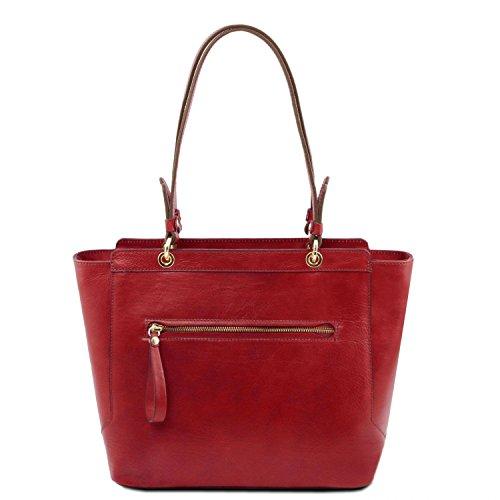 Tuscany Leather TL NeoClassic Bolso shopping en piel con dos asas Marrón topo oscuro Rojo