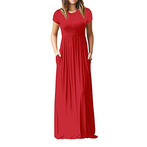- HGWXX7 Women Casual Loose Sliod Pockets Short Sleeve O Neck Long Party Dress (XXL, Red)