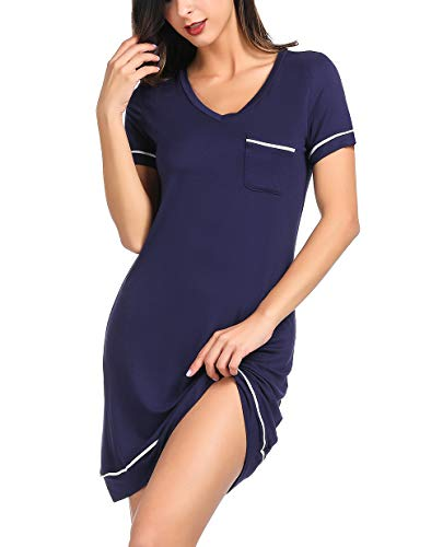 Zexxxy Womens Sleepwear Cotton Nightgown Short Sleeve Sleep Nightdress V Neck Sleep Tee Nightshirt Navy L