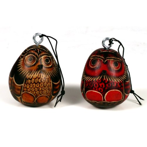 "Wholesale Pack (6) Six 3"" Owl Gourd Hand Carved Nature Ornaments Peru Decorations"