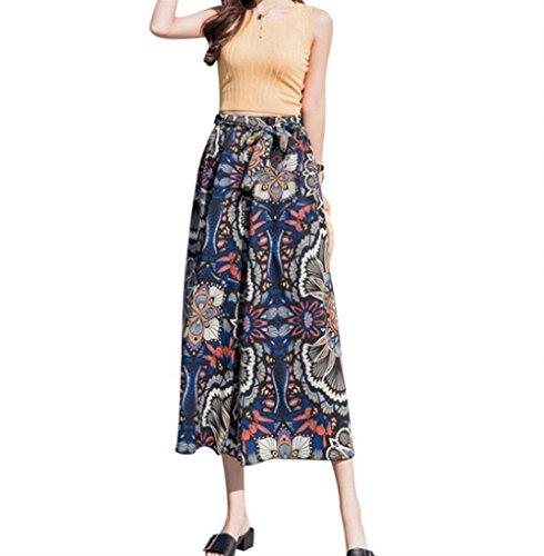 Mare Leggero Sciolto Chiffon Colour Gamba High Estivi Tempo Libero Boho Palazzo Larga Donna Moda Femminile Eleganti Stampate Pantaloni Costume Waist 4 Accogliente zYfqx