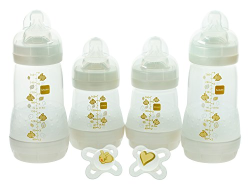 MAM Feed & Soothe Bottle & Pacifier Gift Set, Unisex, 0+ Months, 6-Count