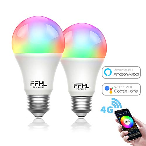 - FFHL WiFi LED Smart Light Bulbs that Work with Alexa,Color Changing and Daylight Dimmable by APP for Google Home,Wake-Up and Party Lamp,E26 E27 Base type,no Hub Reuired (2 Pack)