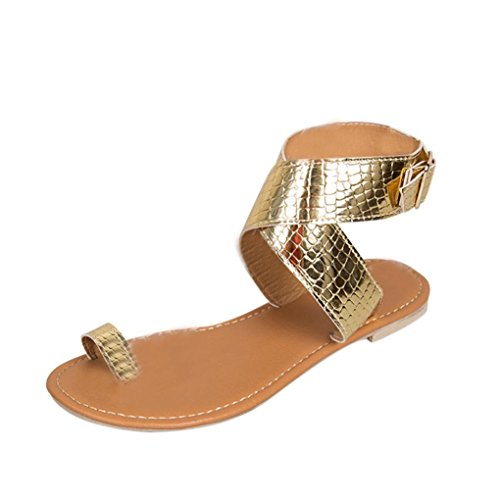 Sandalen Kreuz Mode Damen Flip Flachen Rom Schuhe Riemchen VJGOAL Damen Gürtel Gladiator Strand Gold Sandalen Low Flops 5Itwq