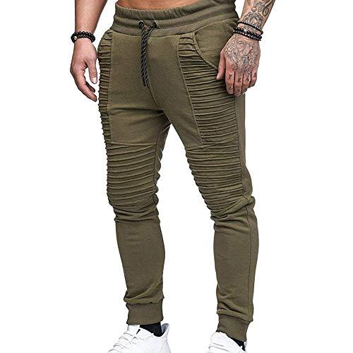 Hellomiko Pantalones de Moto arrugados para Hombre Lavados con Agua Aprieta pies Pantalones de Jeans con Elasticidad Pierna Recta Delgada Raya Recta Plisada Verde