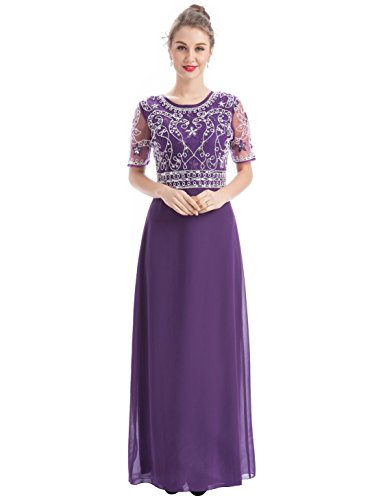 Women Chiffon Beaded Embroidered Sequin Long Gowns Prom Evening Bridesmaid Dress (M, Dark Purple) (Gown Purple Long)