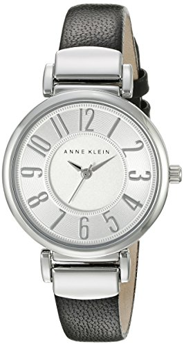 Anne Klein Women's AK/2157SVBK Easy To Read Silver-Tone and Black Leather Strap Watch