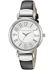 Anne Klein Womens AK/2157SVBK Easy To Read Silver-Tone and Black Leather Strap Watch