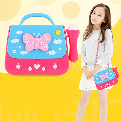 XSHION Karaoke Machine for Girl,Children Portable Musical Bag Karaoke Machine Toys with Microphone Karaoke Player Connect MP3 Smartphone - Butterfly by XSHION (Image #1)